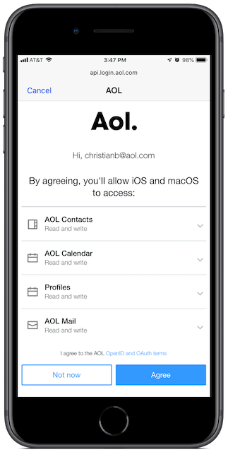 Agree to let iOS (and weirdly, macOS) access your AOL account.