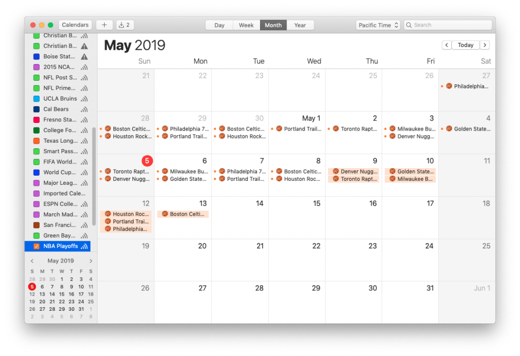 NBA Playoffs Calendar for iPhone and Mac, on a Mac