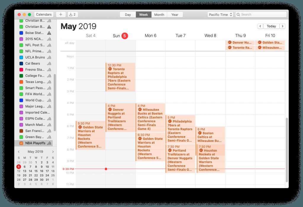 NBA Playoffs Calendar for iPhone and Mac, on a Mac (Week View)