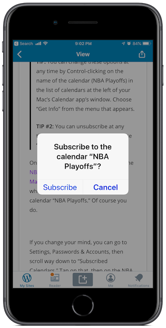 Message on iPhone after tapping the Subscribe link