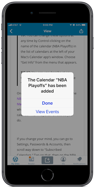 Message on iPhone after subscribing to the NBA Playoffs Calendar for iPhone and Mac on your iPhone.