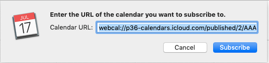 Dialog box shown after clicking the link for the NBA Playoffs Calendar