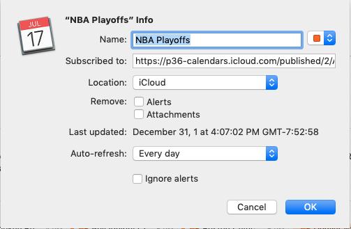 Dialog box for adding NBA Playoffs calendar to Mac calendar.
