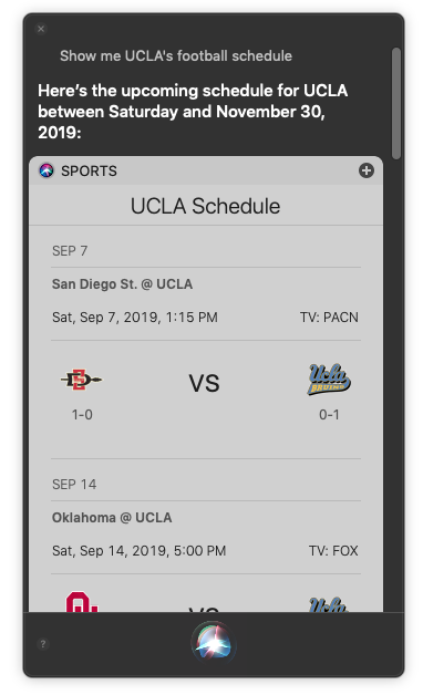 Ask Siri for team schedules