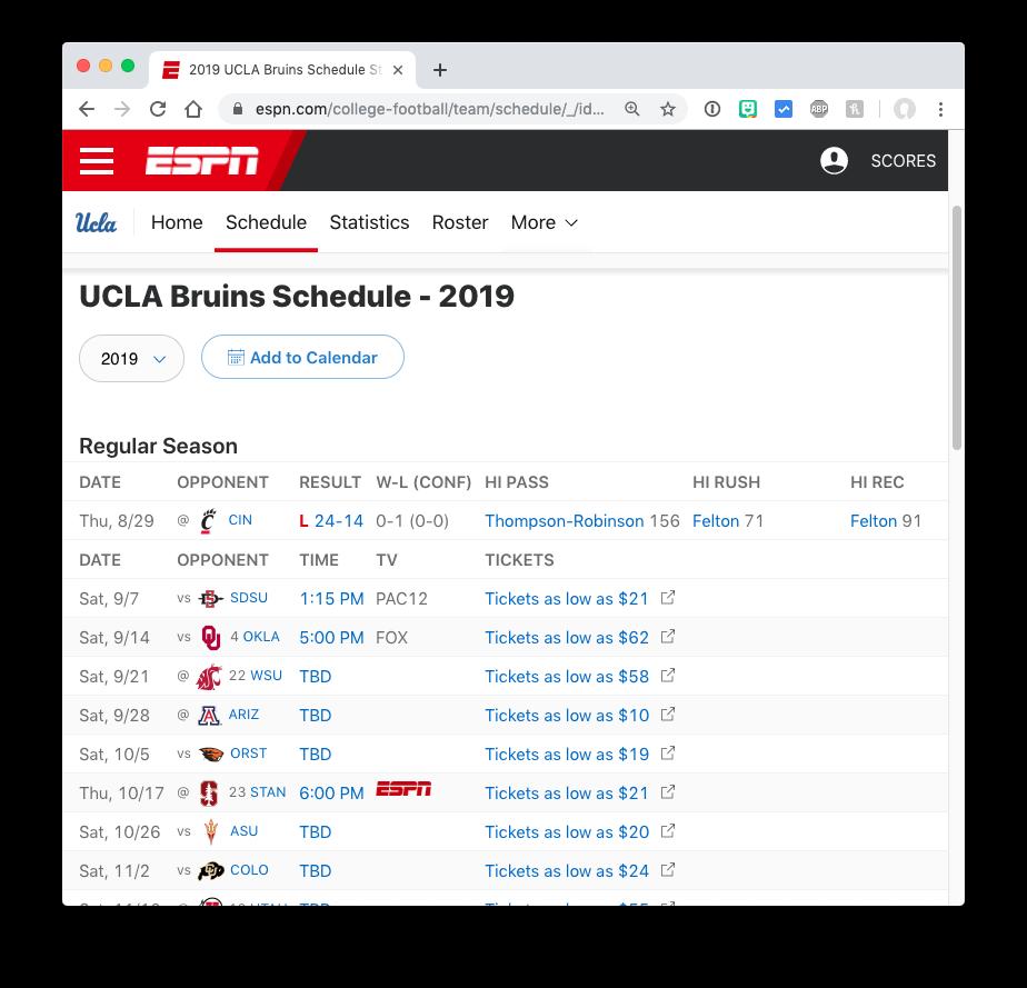 ESPN single-team college football schedule