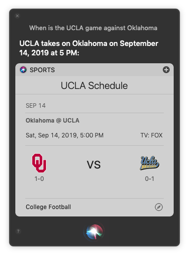 Ask Siri for the details for a football game