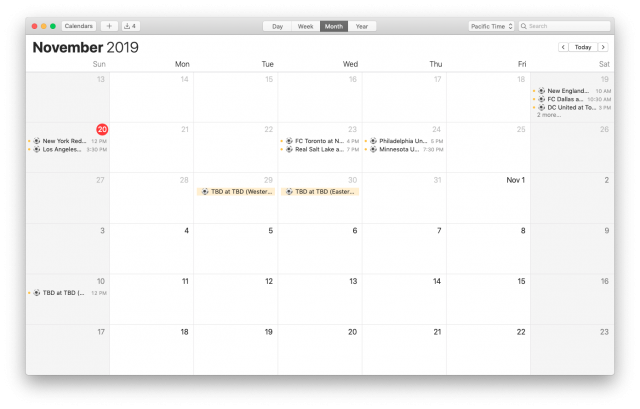 MLS Playoffs Calendar for iPhone and Mac, on a Mac (Month view)