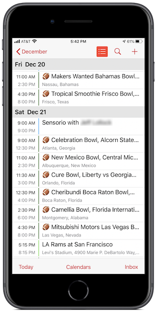 College Football Bowl Games calendar on iPhone 8 Plus