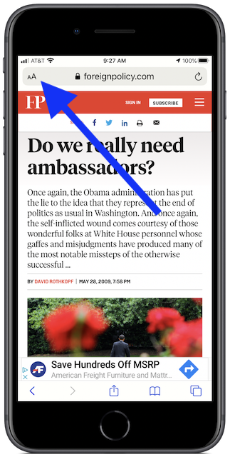 Web page view in iOS Safari browser, Reader view