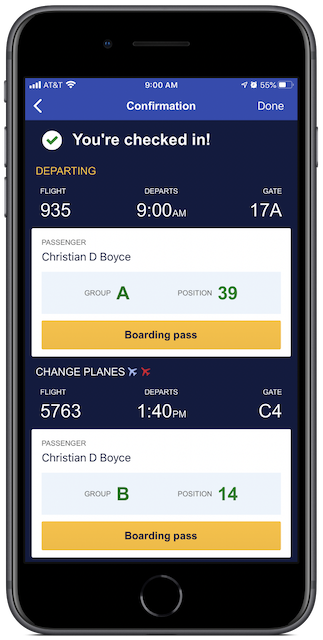 Checked in for my flights in the Southwest app.