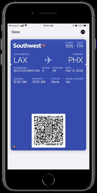 Boarding Pass in Apple Wallet