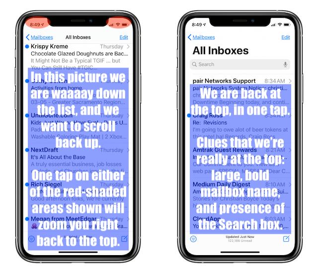 Showing Mail message list scrolled way down, and where to tap to scroll back up, and then the result