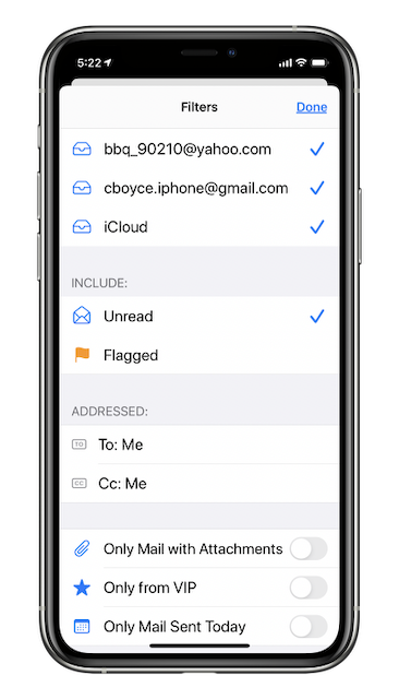 iOS Mail app filtering options