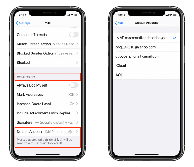 Setting Default Account for mail messages created outside of Mail
