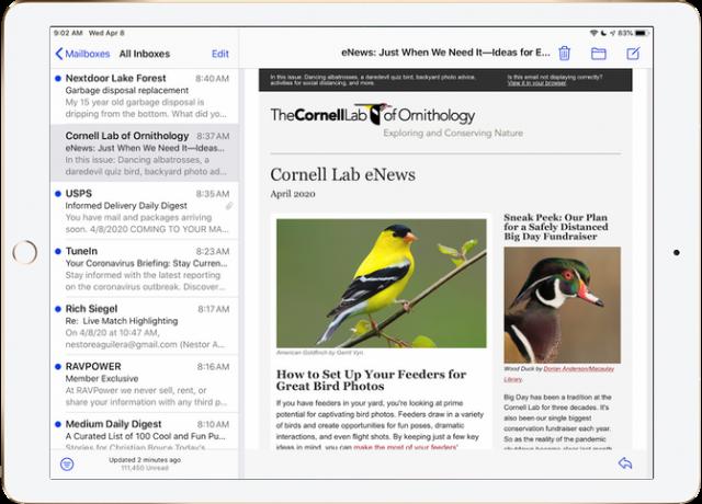 Mail message on iPad Pro 12.9, horizontal orientation