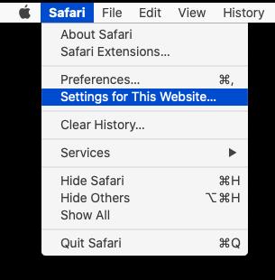 """Mac Safari """"Settings for This Website"""""""