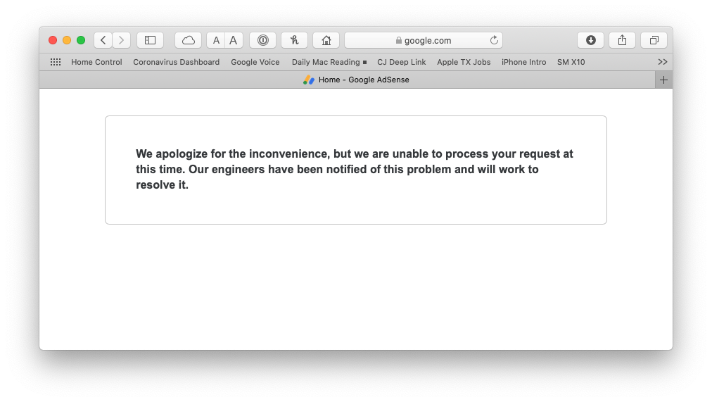 Web page that didn't load properly-- with erroneous error message.