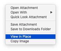 Control-clicking on the attached image, when it's a single-page image or a single-page PDF currently displayed as an icon, produces this menu