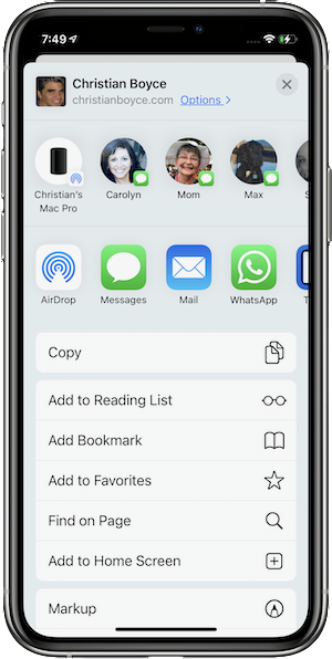 "Share sheet in Safari showing ""Add to Home Screen"" in iOS 14"