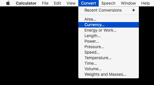 Mac Calculator's Convert menu