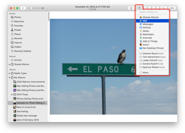 Creating an email with the current image attached via the Share button in Photos