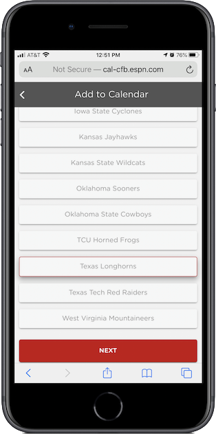 ESPN's Big 12 team calendars page on an iPhone