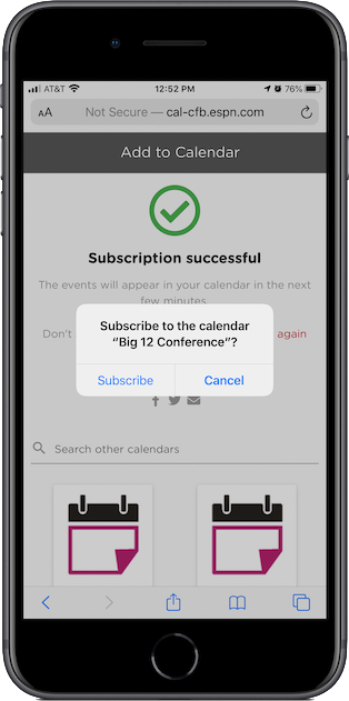 Subscribing to the calendar on an iPhone