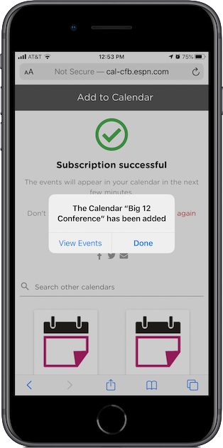 Success! You've added a calendar to your iPhone.