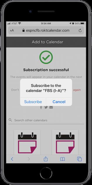 Subscribing to a calendar