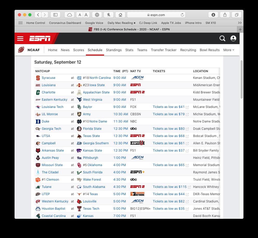 ESPN College Football Schedule website