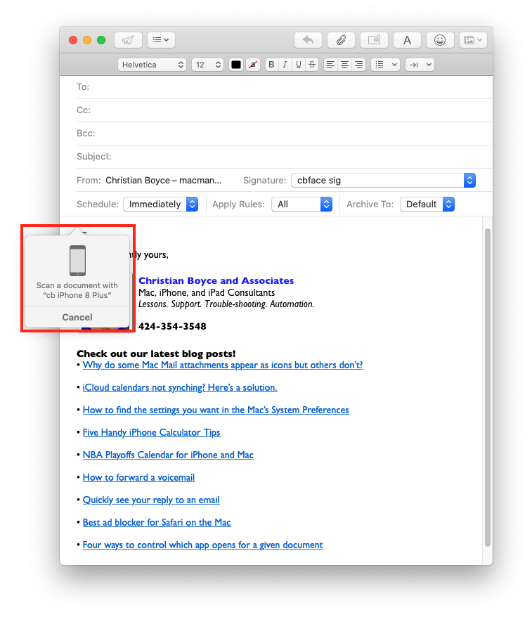 Scanning via the iPhone, for attaching to a Mac Mail message