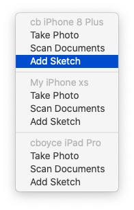 Adding a sketch to a Mac Mail message via iPhone