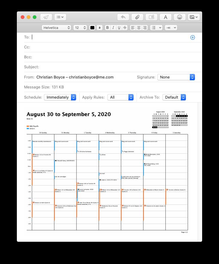 Mac Mail message with PDF of Calendar, via Print... dialog