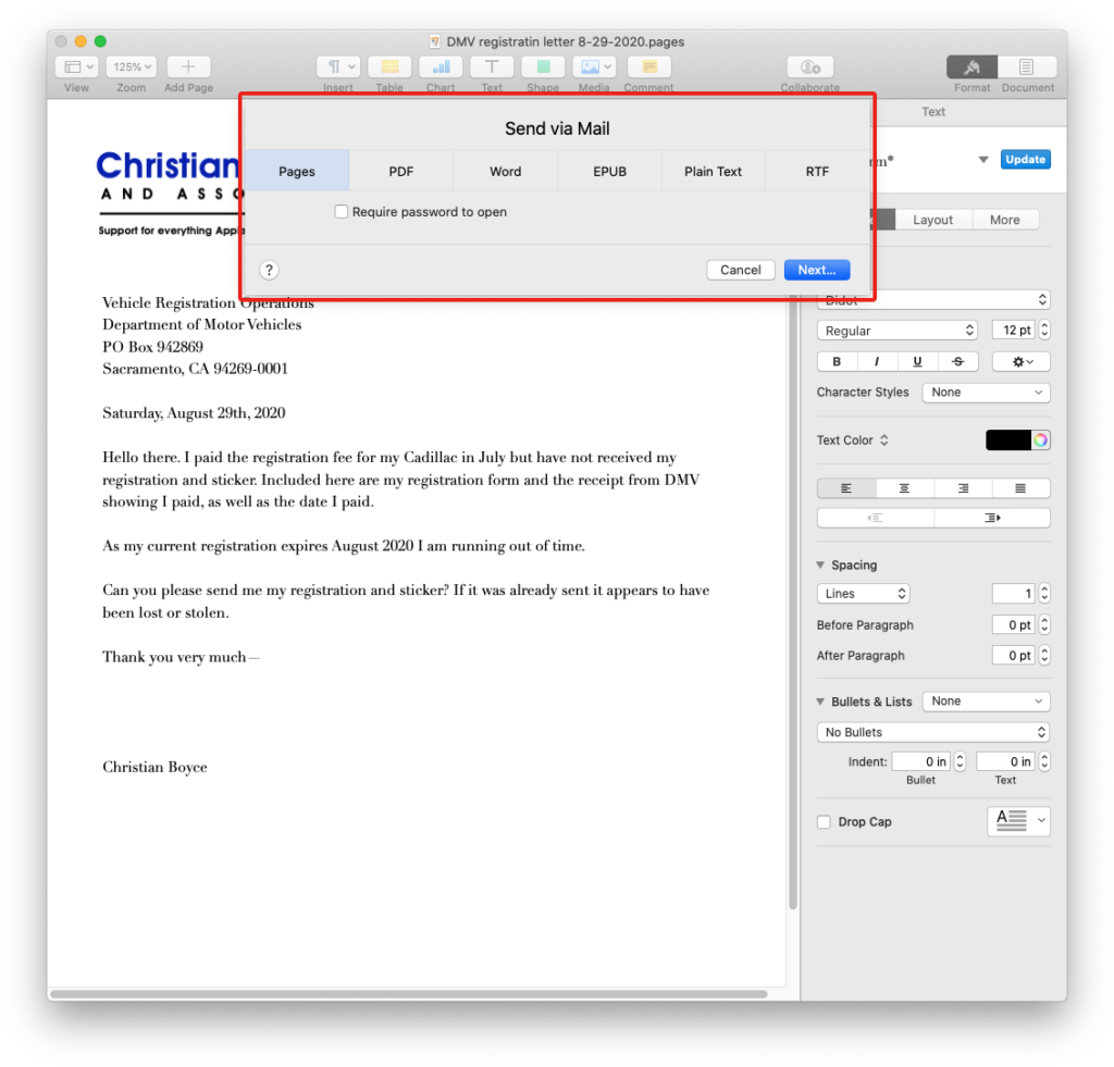 Conversion options via the Share menu in Pages