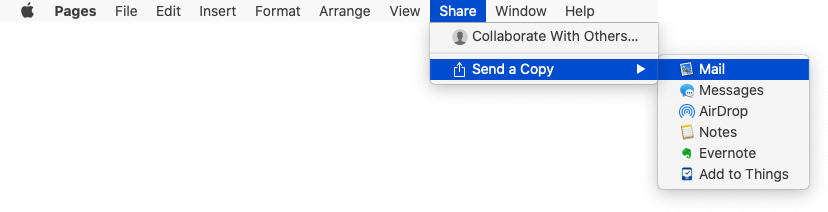 Creating an email with the current document attached via the Share menu in Pages