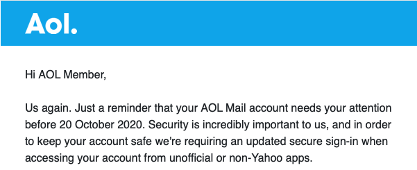 Letter from AOL telling you your account needs attention