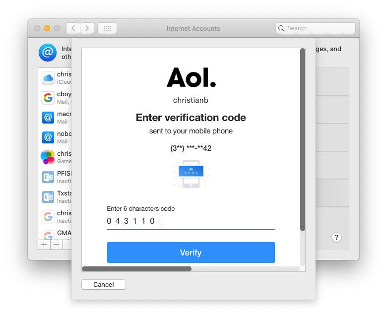 Entering the code that AOL sends when you try to sign in
