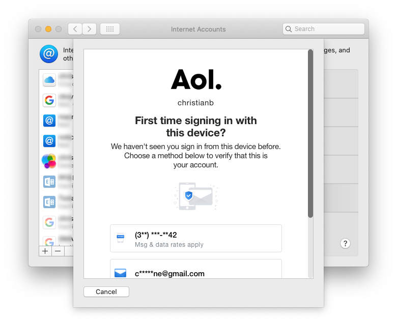 Getting a code from AOL, as a text message or in an email