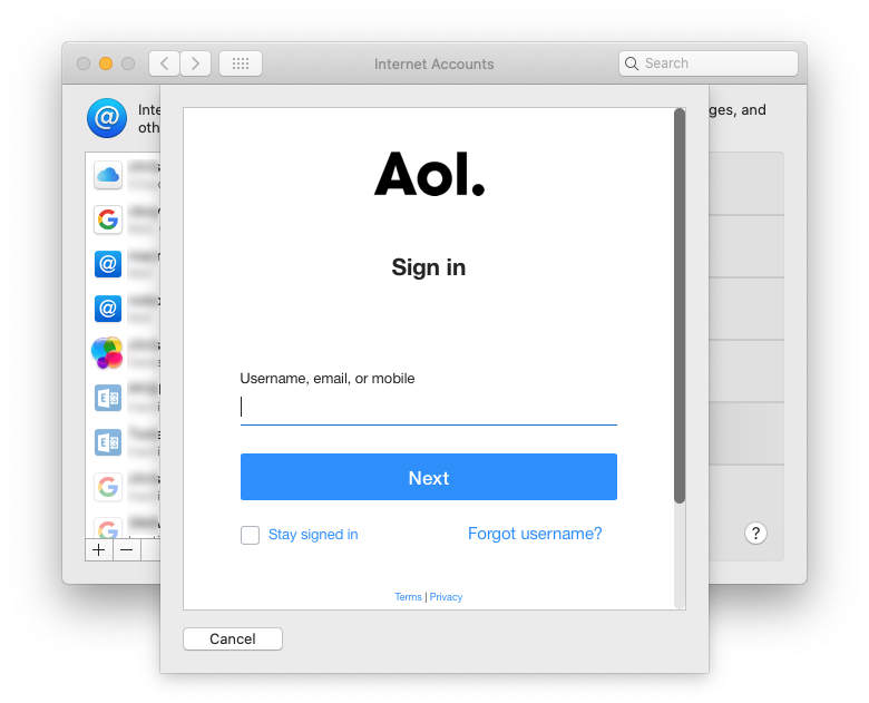 AOL sign-in box in macOS Catalina