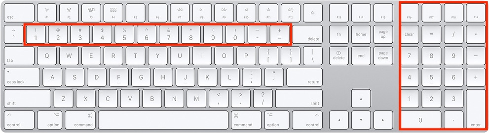 Use the number keys on the keyboard for data entry