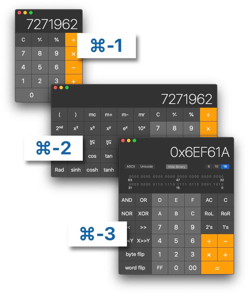 Three kinds of Calculators on the Mac