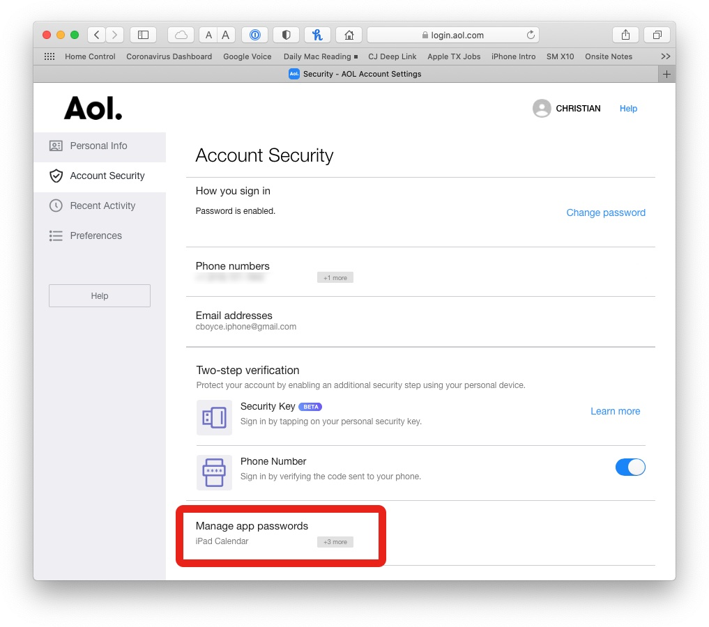 Account Security section of AOL account.