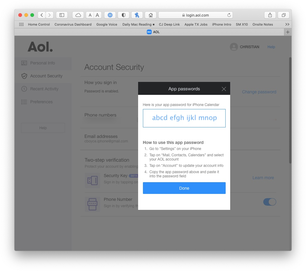 App password generated by AOL