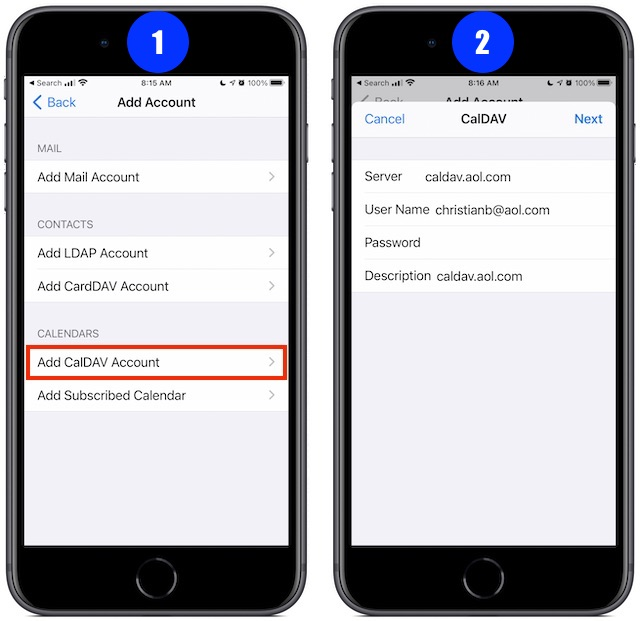 Adding a Calendar account in iOS 14, CalDAV type