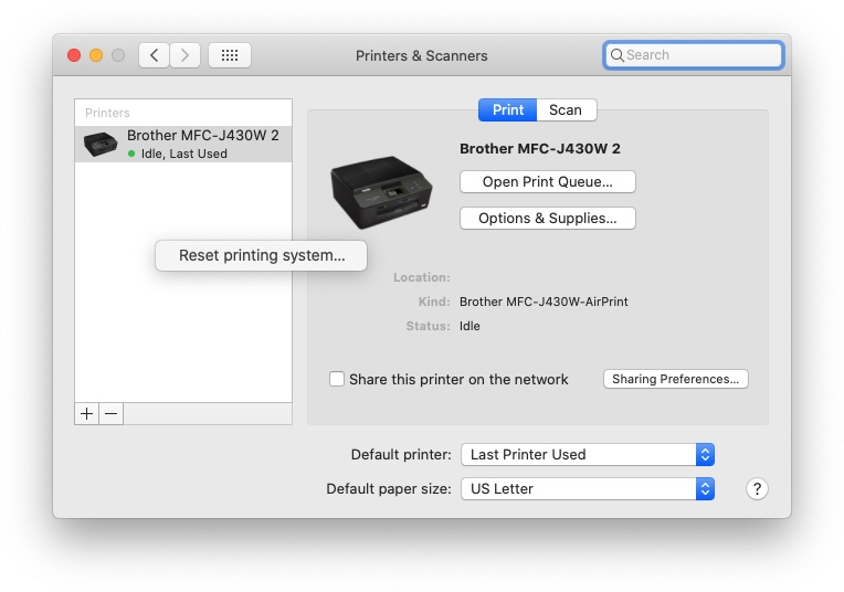 Resetting printing system in macOS 10.15.