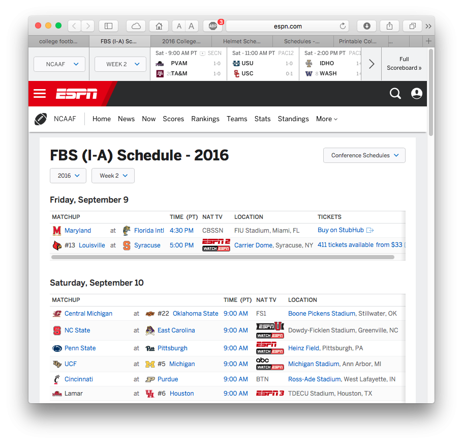 this weeks college football schedule espn schedule nfl