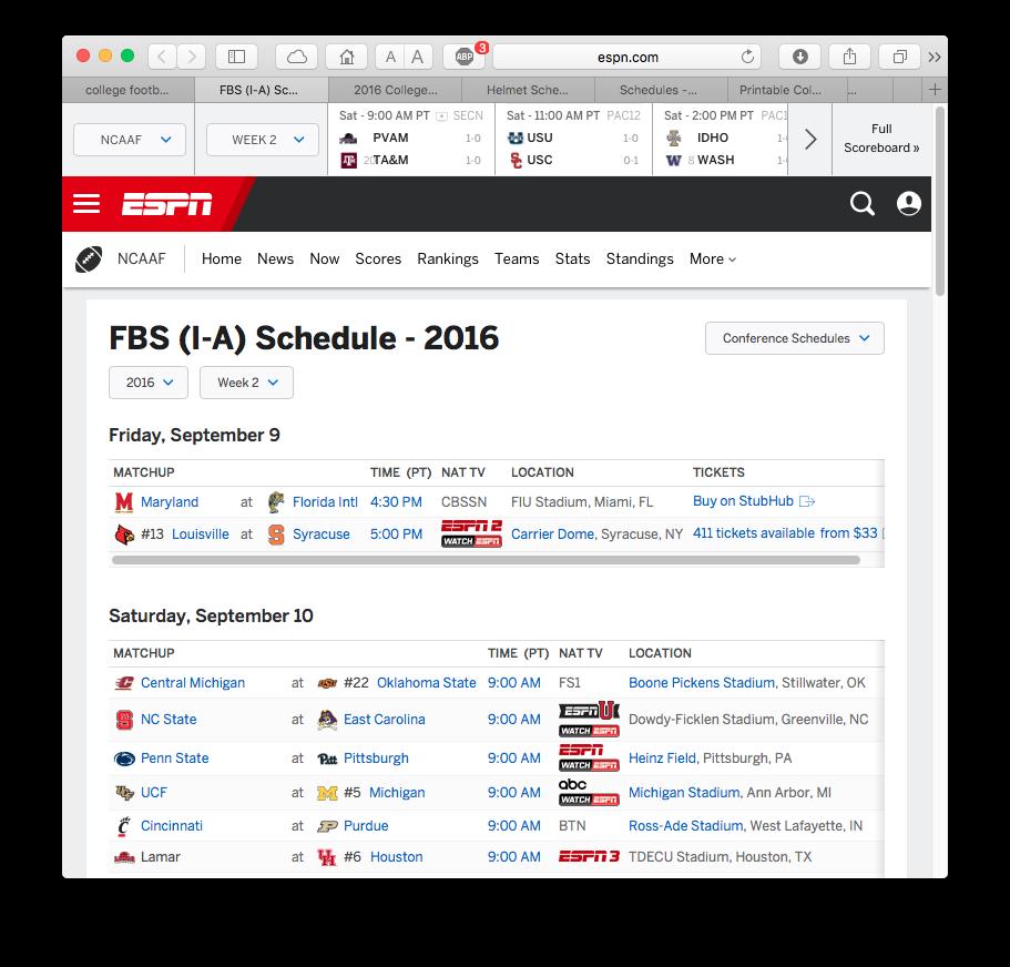 1. ESPN.com's Weekly College Football schedule